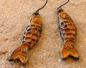 FUN fund - ochre yellow patina koi fish earrings