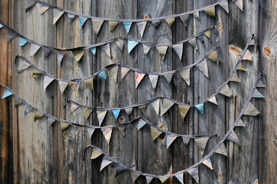 ON SALE scrap and hand dyed flag bunting