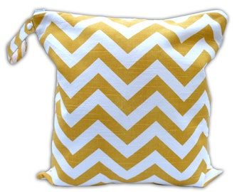 SALE -BEST selling Wet Bags here - Large Wet Bag in Yellow Chevron with Snap Handle