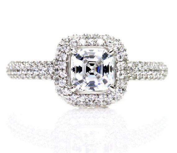 asscher white sapphire engagement ring pave by