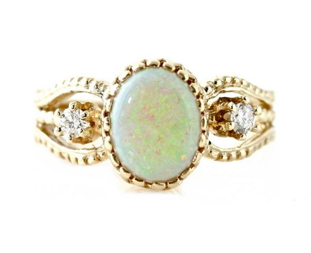 14K Vintage Opal Ring Diamond Art Nouveau Antique by RareEarth