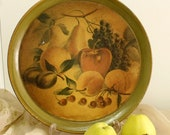Vintage Fruits collage metal tray