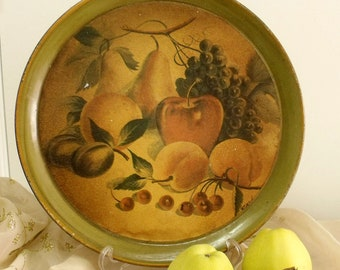 SALE Vintage Fruits collage metal tray