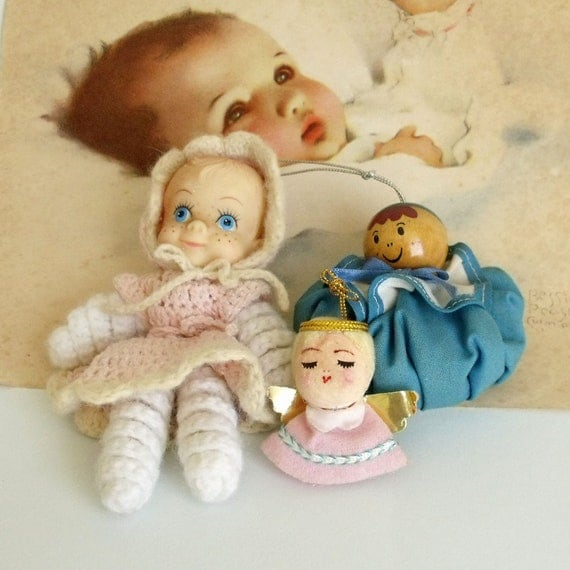 Vintage handmade dolls Crochet baby angel lot of 3