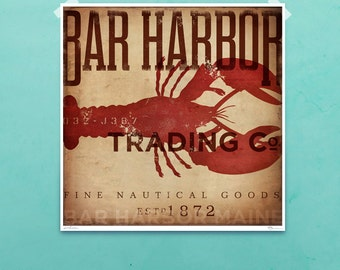 Bar Harbor Maine lobster trading company nautical  art illustration giclee archival signed artists print by stephen fowler Pick A Size