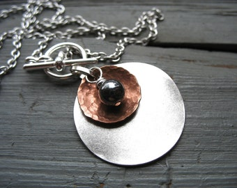 Hematite Stone Metalwork Necklace, Hematite Stone Dome Oxidized Hammered Copper Silver Disk Chain Necklace, Handmade Jewelry
