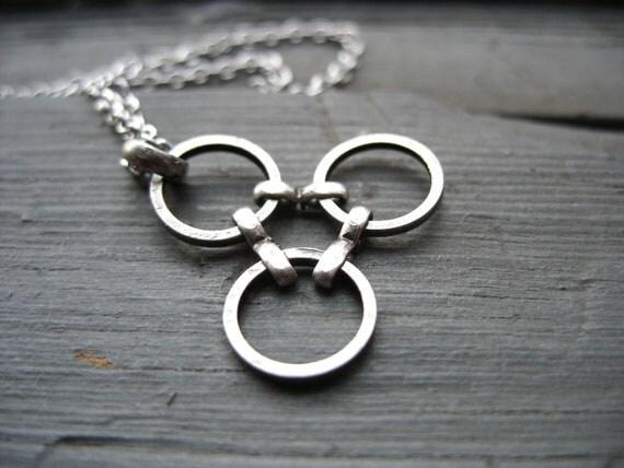 Molecule Necklace, Handmade Oxidized Silver Necklace, Silver Necklace, Handmade Metalwork Silver Molecule Necklace