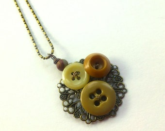 Button Pendant Necklace - Filigree with Tan Buttons