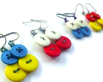 Colorful Vintage Button Dangle Earrings - Made to Order
