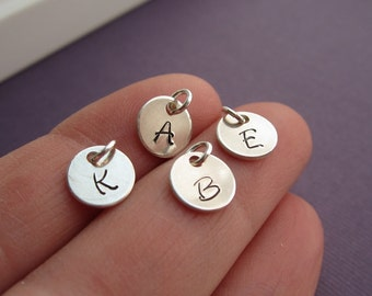 Personalized initial charm, custom sterling silver initial, monogram, hand stamped sterling silver charm