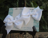 Easter Hair Bow Pair of Classic White Loopy Hairbows Pigtail Bow Set M2M Flat Loop Bows First Communion Bows