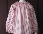 White And Red Polka Dots Long Sleeve Peasant Top 12M TO 7, Girl Top, Girl Blouse, Red Top, White Blouse, Toddler Top, Fall Top, Winter Top