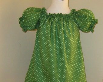 Green Polka Dots Peasant Top 12M   To 7, Girls Top, Infant Top