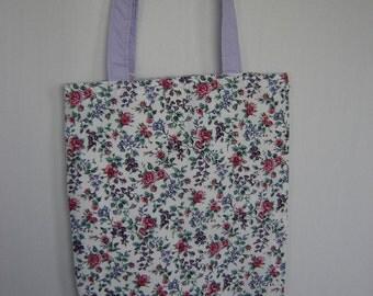 Medium Tote-Pink & Purple Flowers on White (Bag 414)