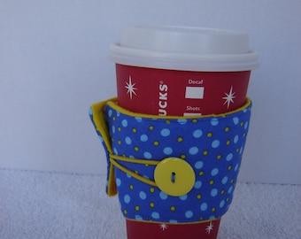 Coffee Cozy-Blue w/Blue & Yellow Dots (CC 4)