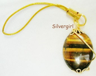 MP3 PDA Cell Phone Charm Shimmery Tiger Eye Gemstone Gold Plate Findings