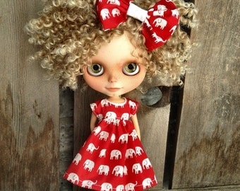 dolly molly ELEPHANTS dress and bow for BLYTHE doll