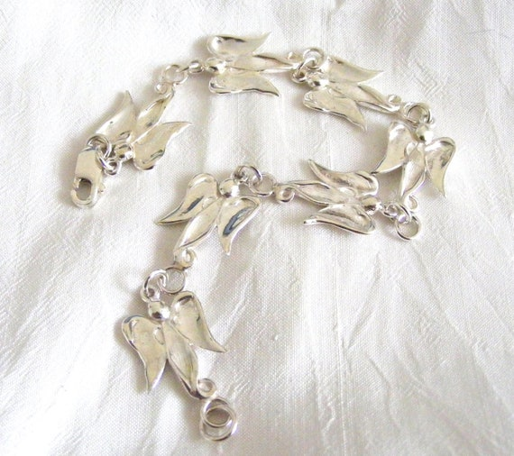 Handmade Solid Silver Peanut Angel Bracelet - custom made to order