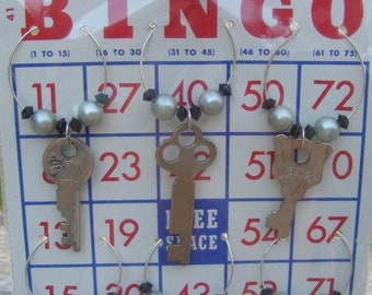 Upcycled Keys Wine Glass Charms Set of 6