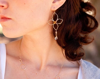 Orchid Flower Earrings in 14k Gold Filled or Sterling Silver
