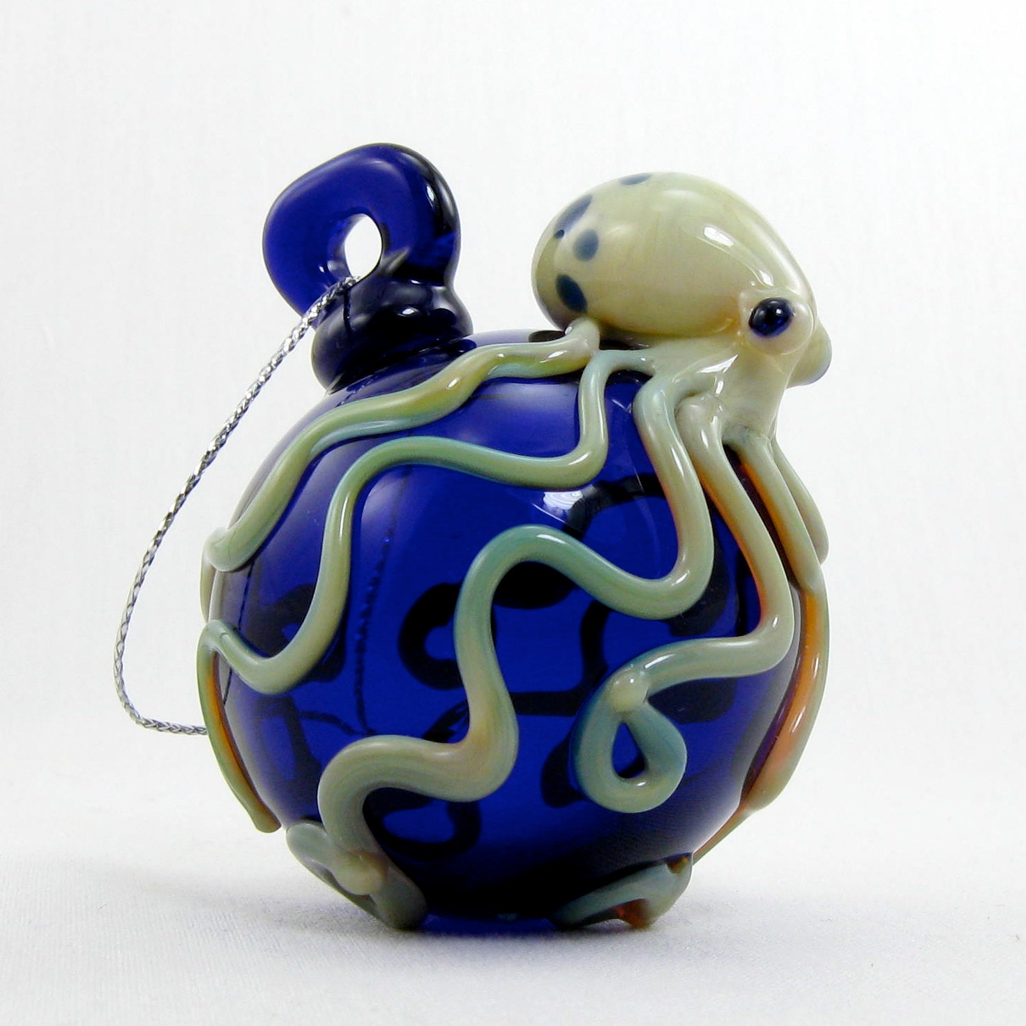 Octopus ornament hand blown glass