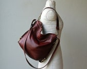On Hold for Jamie - sale - Vintage Cognac with int zip pocket - PETITE HOBO PACK