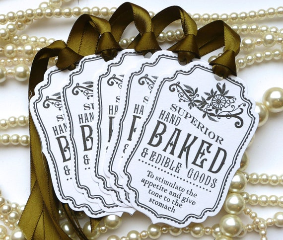 Wedding Favors Food: Baked Good Tags White/Olive Green Food Labels Wedding