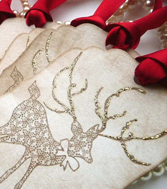 Beautiful Reindeer Christmas Tags Large Vintage Style Tags - Set of 6  - Sparkling Golden Antlers