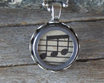 Typewriter Key Necklace, Pendant Vintage Musical Notes