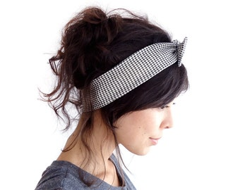 Gingham Skinny Bow Tie Headband