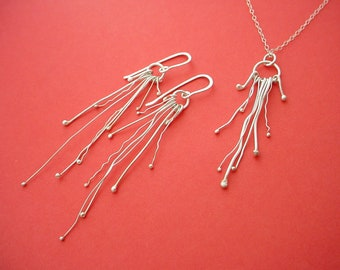 Sterling Silver Earrings & Necklace Set, Organic Style, Any Occasion, Free Shipping