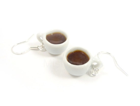 Coffee Cups Dangle Earrings - White Coffee Cup Sterling Silver Earrings - White Brown - Free Shipping Etsy