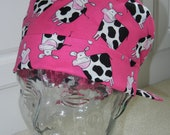 Tie Back Surgical Scrub Hat with Cows on Pink