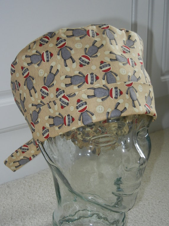 Tie Back Surgical Scrub Hat with Sock Monkeys