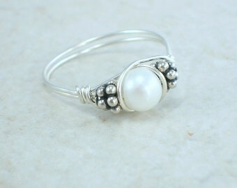 Sterling Silver White Cultured Pearl and Bali Bead Ring