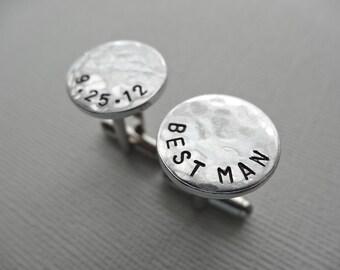 Best Man Cufflinks - Personalized Aluminum Cufflinks - Hammered Weathered Texture