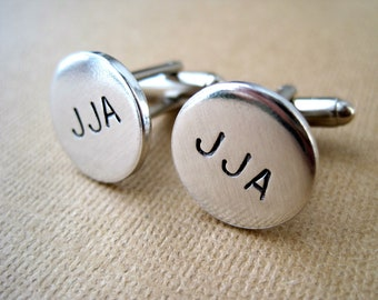 Customized Cuff Links - Initials - Hand stamped aluminum cuff links