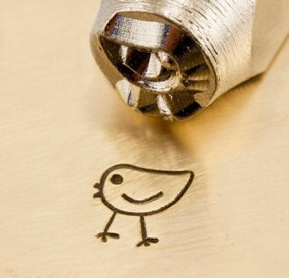 Design Stamp - CHICKADEE - 6mm stamped image by ImpressArt -  includes How to Stamp Metal tutorial