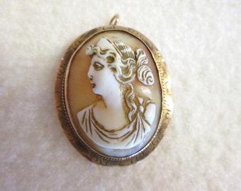 Vintage 1910s Edwardian Cameo Italy 14k Rose Gold