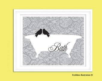 Bathroom Art Decor - Love Bird on Bathtub 10x8 Art Print - Damask