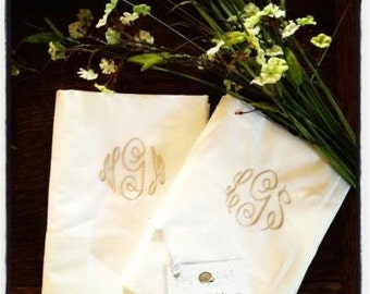 Monogrammed Pair Pillow Case (2) Pillowcases | Personalized | Embroidered | Monogram | Pillow | Case | Pillowcase | Lucy's Pocket