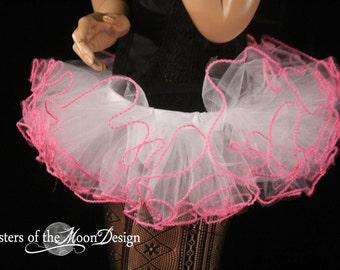 UV tutu skirt mini micro Adult trimmed race gogo dance team costume raver culb wear --You Choose Size -- Sisters of the Moon