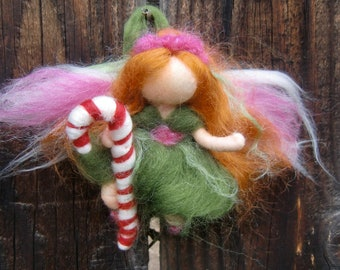 Candy Cane Fairy Girl Christmas ornament felted elf- Waldorf Inspired Needle Felted Soft Sculpture - bendy