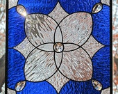 Cobalt Blue Stained Glass Panel Clear Textures and Jewels