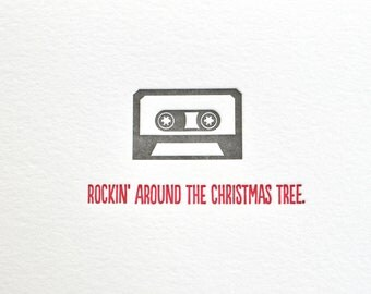 Letterpress Rockin' Around the Christmas Tree Cassette Card and envelope