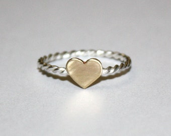 Twisted Sterling Silver Ring w/ Heart