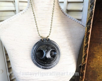 Steampunk skull day of the dead halloween pendant antique silver finish steel necklace