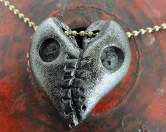 Stitched up heart pendant halloween goth  antique silver finish with brass ball chain