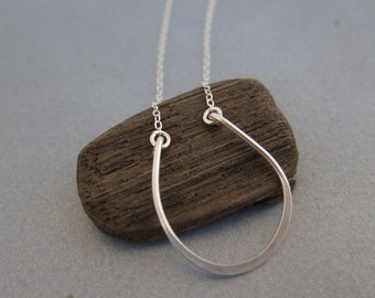 Open Lucky Horseshoe Single Hammered Charm Sterling Silver Pendant Necklace Good Luck Friendship Sweet Gift for Her Make A Wish Made in USA