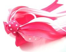 Ponytail Hair Streamer in shades of PINK - Ponytail Holder - Toddler Pony Streamer - Shocking Pink, Hot Pink, Rose Pink